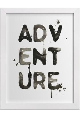 Ahşap Mahzeni Çerçeveli Tablo Yazılı (Adventure Siyah)
