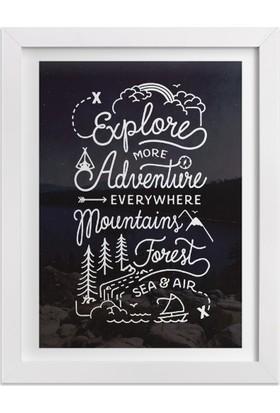 Ahşap Mahzeni Çerçeveli Tablo Yazılı (Explore More Adventure)