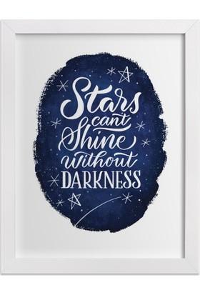 Ahşap Mahzeni Çerçeveli Tablo Yazılı (Stars Cant Shine Lacivert)