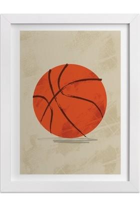 Ahşap Mahzeni Çerçeveli Tablo Basketbol Topu