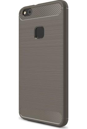 Microcase Huawei P10 Lite Brushed Carbon Fiber Silikon Kılıf + Nano Glass