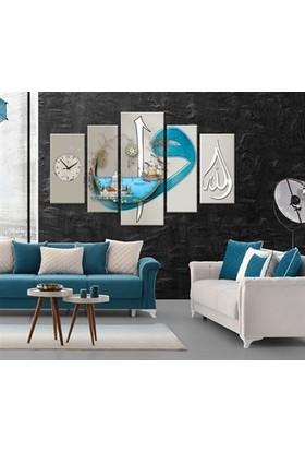 Meteor Galeri Krem Mavi Renkli İslami Kanvas Tablo