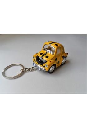 Hediye Aşkı - Kişiye İsme Özel Uğurlu Sarı Plakalı Metal Vosvos Anahtarlık Beetle Volkswagen