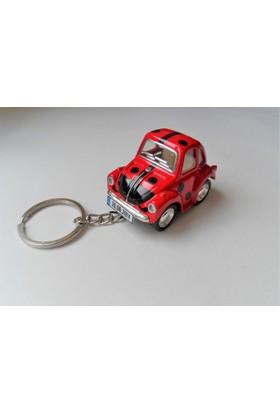 Hediye Aşkı - Kişiye İsme Özel Uğurlu Kırmızı Plakalı Metal Vosvos Anahtarlık Beetle Volkswagen