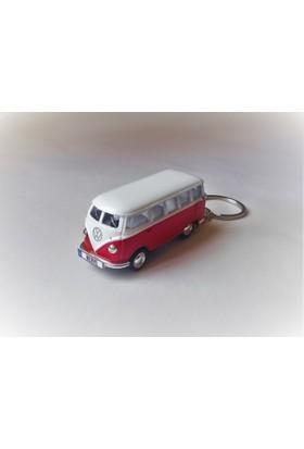 Hediye Aşkı - Kişiye İsme Özel Kırmızı-Beyaz Plakalı Metal Vosvos T1 Bus Otobus Anahtarlık Volkswagen