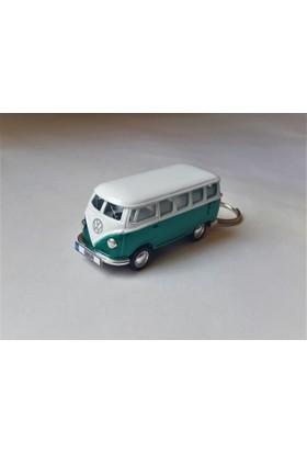 Hediye Aşkı - Kişiye İsme Özel Yeşil-Beyaz Plakalı Metal Vosvos T1 Bus Otobus Anahtarlık Volkswagen