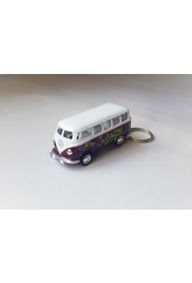 Hediye Aşkı - Kişiye İsme Özel Mor Love Plakalı Metal Vosvos T1 Bus Otobus Anahtarlık Volkswagen