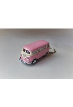 Hediye Aşkı - Kişiye İsme Özel Pembe Plakalı Metal Vosvos T1 Bus Otobus Anahtarlık Volkswagen