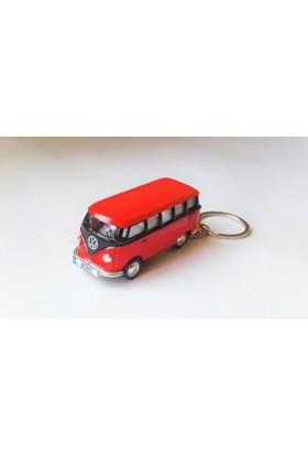 Hediye Aşkı - Kişiye İsme Özel Kırmızı-Siyah Plakalı Metal Vosvos T1 Bus Otobus Anahtarlık Volkswagen