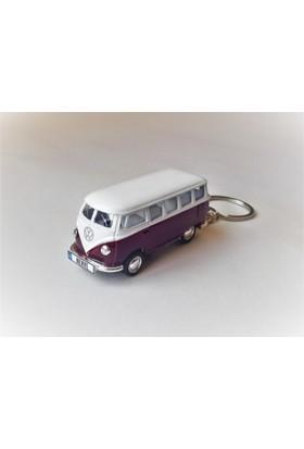 Hediye Aşkı - Kişiye İsme Özel Mor Plakalı Metal Vosvos T1 Bus Otobus Anahtarlık Volkswagen