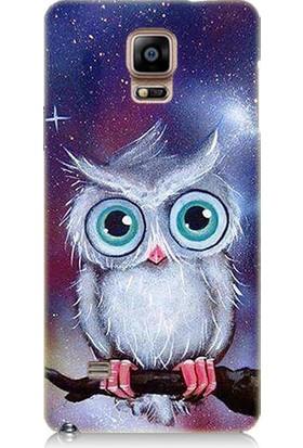 Teknomeg Samsung Galaxy Note 4 Beyaz Baykuş Desenli Tasarım Silikon Kılıf