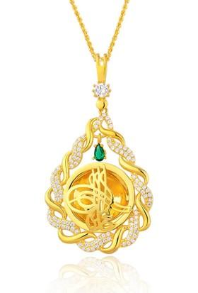 Gümüş Kalbi Örgü Osmanlı Tuğrası Gümüş Kolye