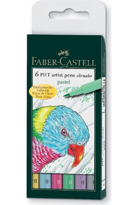 Faber-Castell Pitt Çizim Kalemi Fırça Uç Pastel Renkler 6'Lı Poşet