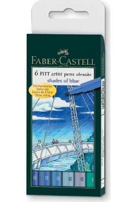 """Faber-Castell Pitt Çizim Kalemi Fırça Uç """"Gök Renkleri"""" 6Lı Poşet"""
