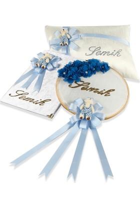 Special For You Mavi Bebek Yastığı Ve Kapı Süsü Ve Anı Defteri