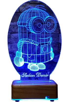Vipyol Doğum Günü Hediyesi Minion Gece Lambası 16 Renk İsimli Led Lamba Masa Lambası Kişiye Özel Hediyeler