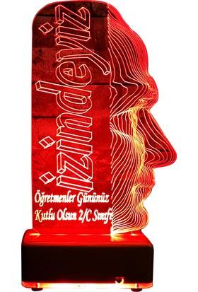 Vipyol Atatürk Masa Lambası Öğretmen Hediyesi Led Lamba İsimli Kişiye Özel 16 Renkli Led Lamba
