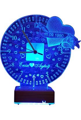 Vipyol Anneler Günü Hediyesi Saatli Gece Lambası 16 Renkli İsimli Kişiye Özel Hediyeler Saatli Masa Lambası