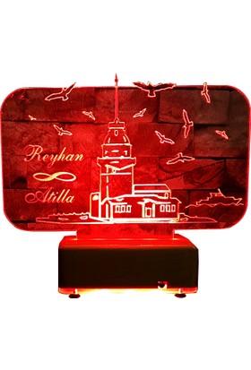 Vipyol Kız Kulesi Masa Lambası Sevgiliye Hediyeler İsimli Gece Lambası 16 Renkli Led Lamba