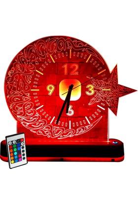 Vipyol Büyük Boy Saatli Masa Lambası İsimli Kişiye Özel Gece Lambası 16 Renkli 40Cm X 40Cm