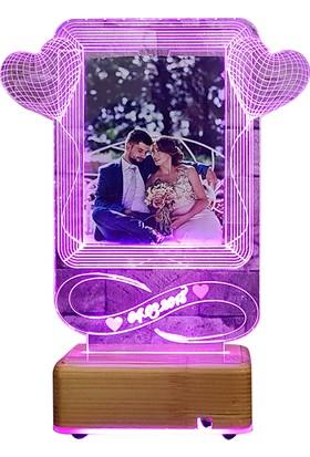 Vipyol Sevgiliye Hediyeniz 16 Renk Gece Lambası İsimli Fotoğraflı Masa Lambası Kişiye Özel