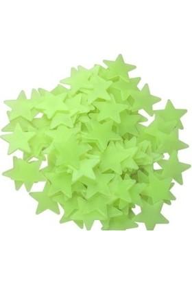 Yeşil 100 adet Yıldız ve 2 Adet Ay Duvar Çıkartması - Fosforlu Sticker