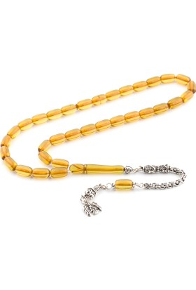 Saray Çarşısı 925 Ayar Gümüş Püsküllü Sarı Ateş Kehribar Tesbih T0101113