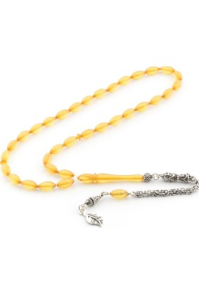 Saray Çarşısı 925 Ayar Gümüş Püsküllü Sarı Sıkma Kehribar Tesbih T0103291