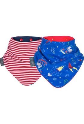 Cheeky Chompers Neckerbib Fular Önlük - 2'li - Red Stripes & Rockets