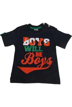 Jolly Baby Boys T-Shirt Yakası Çıtçıtlı Kolu Düğmeli - Lacivert