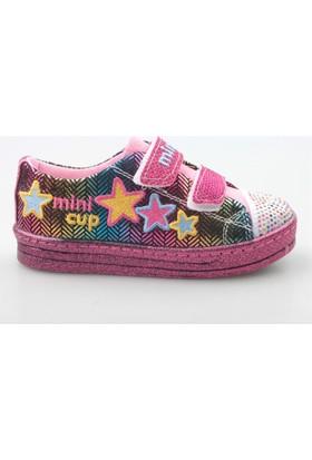 Jolly Shoes Yıldızlı Pırıltılı Ayakkabı Cırtlı - Fuşya