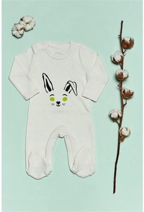 Bluuh Baby Organik Tavşan Yeşil Baskılı Tulum Ekru