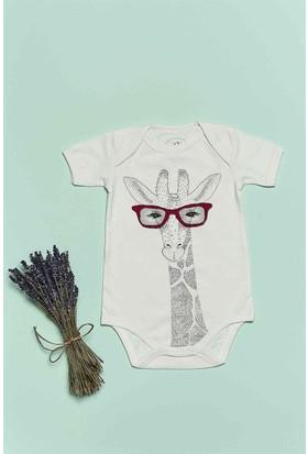 Bluuh Baby Organik Zürafa Baskılı Body Ekru