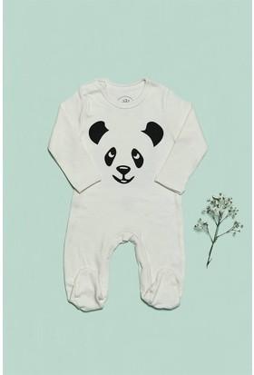 Bluuh Baby Organik Tulum Panda Baskılı Tulum Ekru
