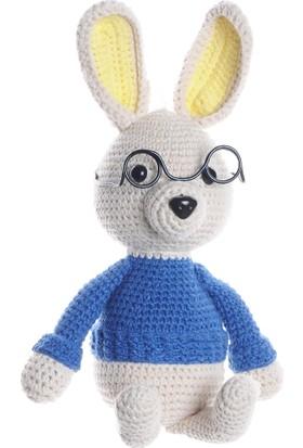Dfnbaby Amigurumi Organik Yıkanabilir El Örmesi Profesör Tavşan