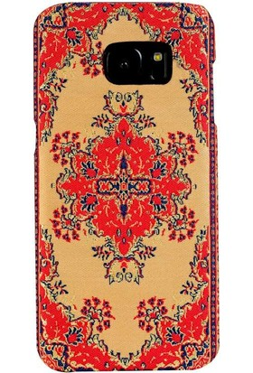 Carpet Case Samsung Galaxy S7 Hattuşaş El Yapımı Kilim Desenli Kumaş Dokuma Arka Kapak