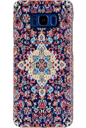 Carpet Case Samsung Galaxy S8 Plus Bergama El Yapımı Kilim Desenli Kumaş Dokuma Arka Kapak