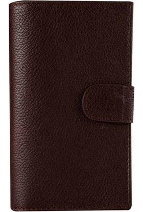 Book Case iPhone 6/6S Deri Double Wallet Candy Koyu Kahverengi Cüzdanlı Kılıf
