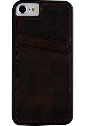 Justin Case iPhone 6/6S Plus Kapak Back Cover CC Deri Echo Kartlıklı Koyu Kahverengi