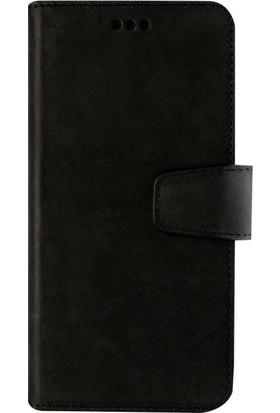 Book Case iPhone 6/6S Plus Deri Classic Valeria Antique Siyah Cüzdanlı Kılıf