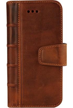 Book Case iPhone 6/6S Plus Deri Library Satin Antique Kahverengi Cüzdanlı Kılıf