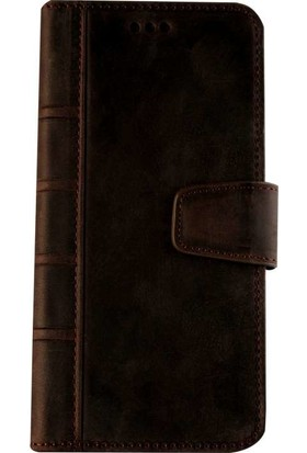 Book Case iPhone 6/6S Plus Deri Library Dury Kahverengi Cüzdanlı Kılıf
