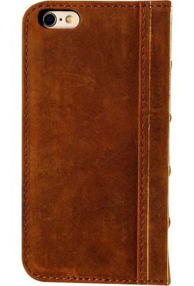 Book Case iPhone 6/6S Plus Deri Boni Kahverengi Cüzdanlı Kılıf