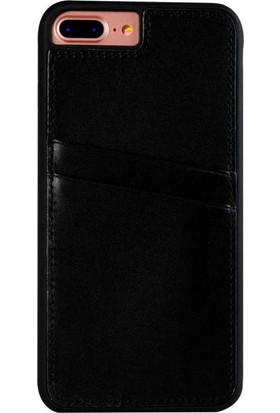 Justin Case iPhone 7/8 Plus Kapak Back Cover CC Deri Beta Kartlıklı Antique Siyah