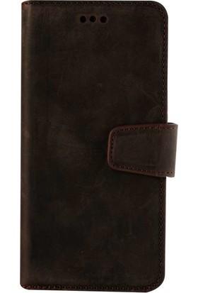 Book Case iPhone 7/8 Plus Deri Classic Daria Antique Kahverengi Cüzdanlı Kılıf