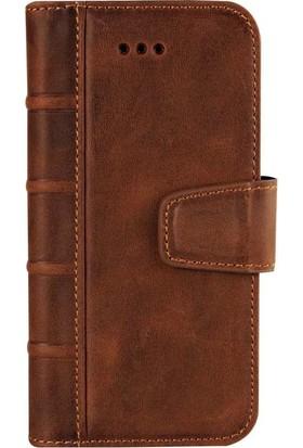 Book Case iPhone 7/8 Deri Library Satin Antique Kahverengi Cüzdanlı Kılıf
