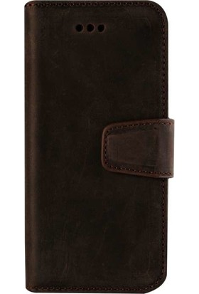 Book Case iPhone X Deri Classic Daria Antique Kahverengi Cüzdanlı Kılıf