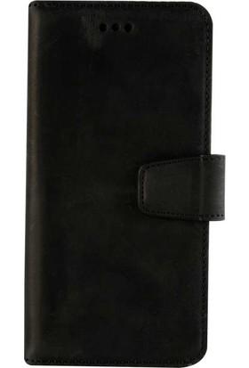Book Case iPhone X Deri Classic Valeria Antique Siyah Cüzdanlı Kılıf