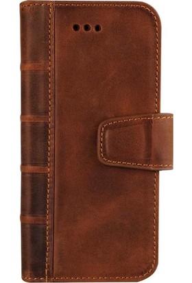 Book Case iPhone X Deri Library Satin Antique Kahverengi Cüzdanlı Kılıf