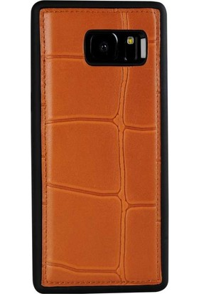 Justin Case Samsung Galaxy S7 Kapak Back Cover Deri Port Turuncu